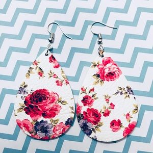 Pink Floral Leather Drop Earrings